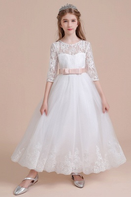 Illusion Lace Flower Girl Dress Half Sleeve Tulle Ankle Length girls dresses for weddings_7