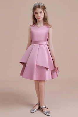 Sleeveless Satin Knee Length Princess Flower Girl Dress for Wedding