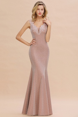 Mermaid V-Neck Floor Length Lace Long Cocktail Dress_11
