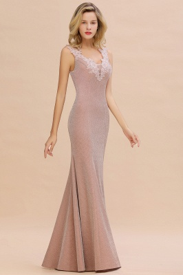 Mermaid V-Neck Floor Length Lace Long Cocktail Dress_13