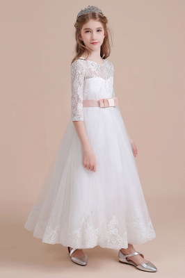 Illusion Lace Flower Girl Dress Half Sleeve Tulle Ankle Length girls dresses for weddings_4