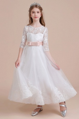 Illusion Lace Flower Girl Dress Half Sleeve Tulle Ankle Length girls dresses for weddings_8