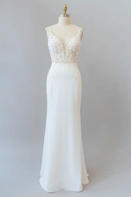 Sleeveless Simple Wedding Dress Slim Mermaid Reception Dress with Lace Appliques