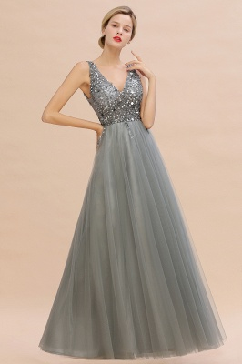 Spark Beading Sequins Bodice Evening Maxi Dress Tulle  Gown_12