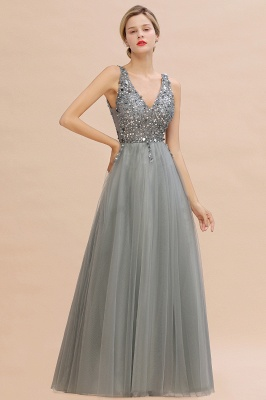 Spark Beading Sequins Bodice Evening Maxi Dress Tulle  Gown_10