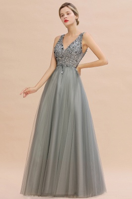 Spark Beading Sequins Bodice Evening Maxi Dress Tulle  Gown_8