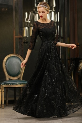 Women's Floral Lace Tulle Mesh Illusion Crewneck Evening Formal Prom Gown for Wedding Party_8