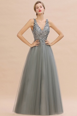 Spark Beading Sequins Bodice Evening Maxi Dress Tulle  Gown_11