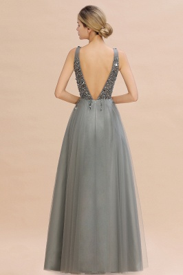 Spark Beading Sequins Bodice Evening Maxi Dress Tulle  Gown_13