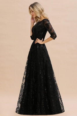 Women's Floral Lace Tulle Mesh Illusion Crewneck Evening Formal Prom Gown for Wedding Party_6