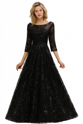 Women's Floral Lace Tulle Mesh Illusion Crewneck Evening Formal Prom Gown for Wedding Party_11