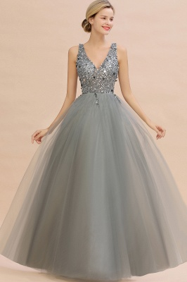 Spark Beading Sequins Bodice Evening Maxi Dress Tulle  Gown_9