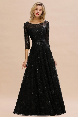 Women's Floral Lace Tulle Mesh Illusion Crewneck Evening Formal Prom Gown for Wedding Party_7
