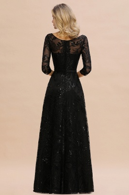 Women's Floral Lace Tulle Mesh Illusion Crewneck Evening Formal Prom Gown for Wedding Party_4