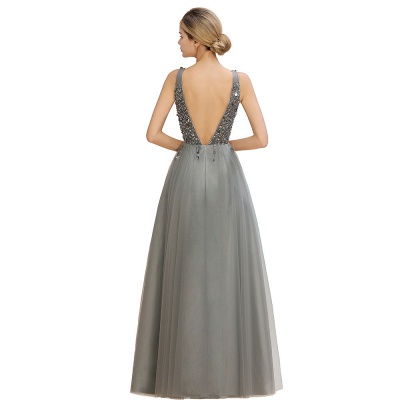 Spark Beading Sequins Bodice Evening Maxi Dress Tulle  Gown_18