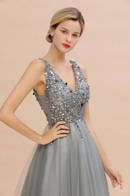 Spark Beading Sequins Bodice Evening Maxi Dress Tulle  Gown_17