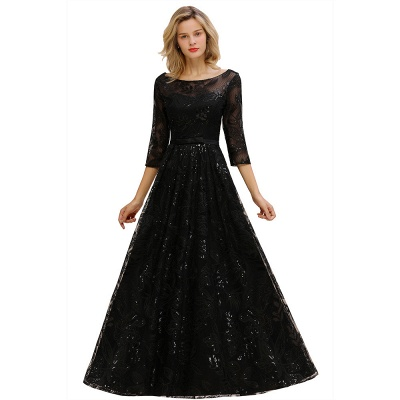 Women's Floral Lace Tulle Mesh Illusion Crewneck Evening Formal Prom Gown for Wedding Party_1