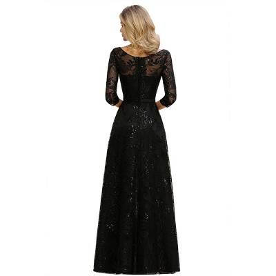 Women's Floral Lace Tulle Mesh Illusion Crewneck Evening Formal Prom Gown for Wedding Party_13