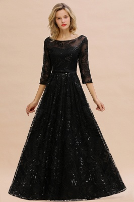 Women's Floral Lace Tulle Mesh Illusion Crewneck Evening Formal Prom Gown for Wedding Party_5
