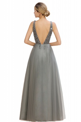Spark Beading Sequins Bodice Evening Maxi Dress Tulle  Gown_16