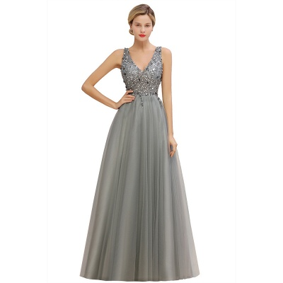 Spark Beading Sequins Bodice Evening Maxi Dress Tulle  Gown_14