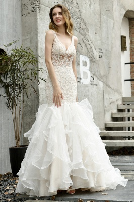 Luxury Mermaid Ivory V-neck Spring Lace Wedding Dress with Ruffles Train_3
