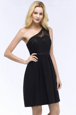 Homecoming Dresses Chiffon Top Short A-line Lace One-shoulder with Sash_1