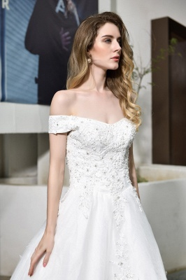 Elegant White Lace Off Shoulder Princess Wedding Dress with Beaded Lace Appliques_9