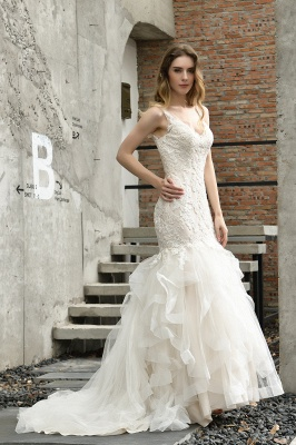 Sexy Lace Mermaid Lace Sleeveless Ivory Wedding Dress with Ruffle Train_12