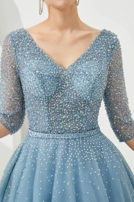 Glitter Half Sleeve Sequins Beading  Evening gowns Aline Prom Gown_9