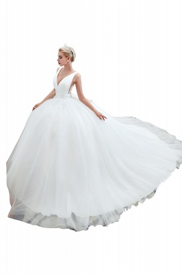 Sexy V-Neck White Princess Spring Wedding Dress Sleeveless Bridal Gowns with Belt_6