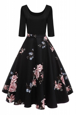 Women's Floral Print Vintage Audrey Hepburn Evening Prom Cocktail Swing Dress