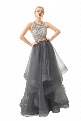 Halter Floral Evening Dress Sparkly Beads Tulle Prom Dress Mother of bride dress_8