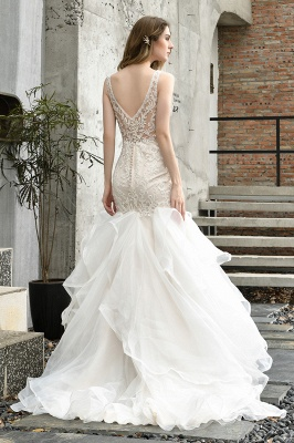 Luxury Mermaid Ivory V-neck Spring Lace Wedding Dress with Ruffles Train_10