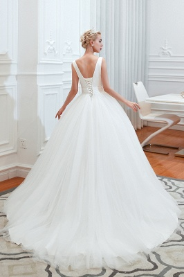 Sexy V-Neck White Princess Spring Wedding Dress Sleeveless Bridal Gowns with Belt_12
