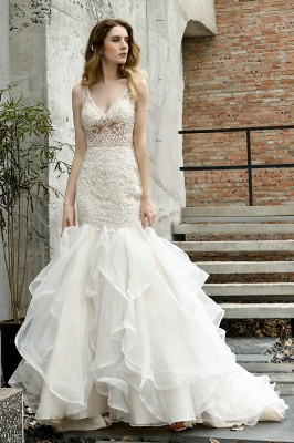 Luxury Mermaid Ivory V-neck Spring Lace Wedding Dress with Ruffles Train_11