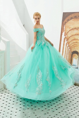 Elegant Off Shoulder Gold Appliques Evening Gown Tulle Gowns for wedding party_14