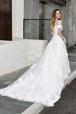 Elegant White Lace Off Shoulder Princess Wedding Dress with Beaded Lace Appliques_8