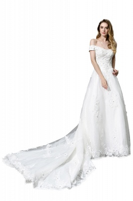 Elegant White Lace Off Shoulder Princess Wedding Dress with Beaded Lace Appliques_4