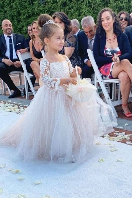 Long-Sleeve Lace Gown Romantic Flower Girl Dress  Princess