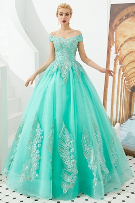 Elegant Off Shoulder Gold Appliques Evening Gown Tulle Gowns for wedding party_10