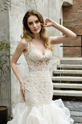 Luxury Mermaid Ivory V-neck Spring Lace Wedding Dress with Ruffles Train_12
