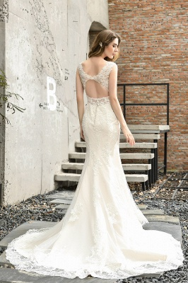 Stylish Mermaid Wedding Dress Slim Lace Appliques Sleeveless Party Dress for wedding_3