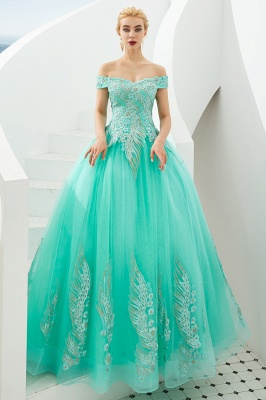 Elegant Off Shoulder Gold Appliques Evening Gown Tulle Gowns for wedding party_18