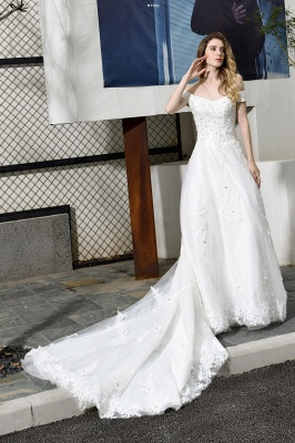 Elegant White Lace Off Shoulder Princess Wedding Dress with Beaded Lace Appliques_6
