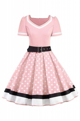 Women's Vintage Crew Polka Dot Wedding Party Cocktail Dress_4