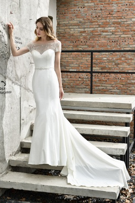 Floral Beaded Cap Sleeve Mermaid Lace Ivory Wedding Dress with Chapel Train_4