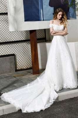 Elegant White Lace Off Shoulder Princess Wedding Dress with Beaded Lace Appliques_10