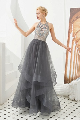 Halter Floral Evening Dress Sparkly Beads Tulle Prom Dress Mother of bride dress_1