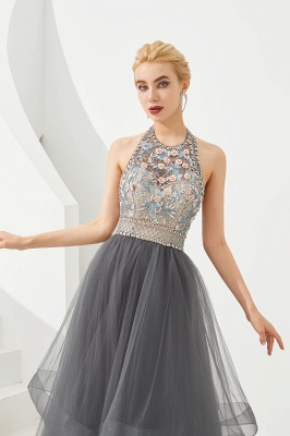 Halter Floral Evening Dress Sparkly Beads Tulle Prom Dress Mother of bride dress_3